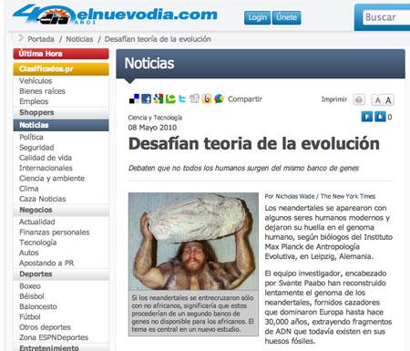 Noticia sobre la evolución en El Nuevo Día